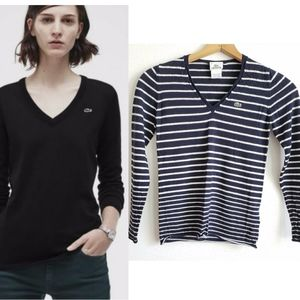 Lacoste Wool V-neck Striped Sweater